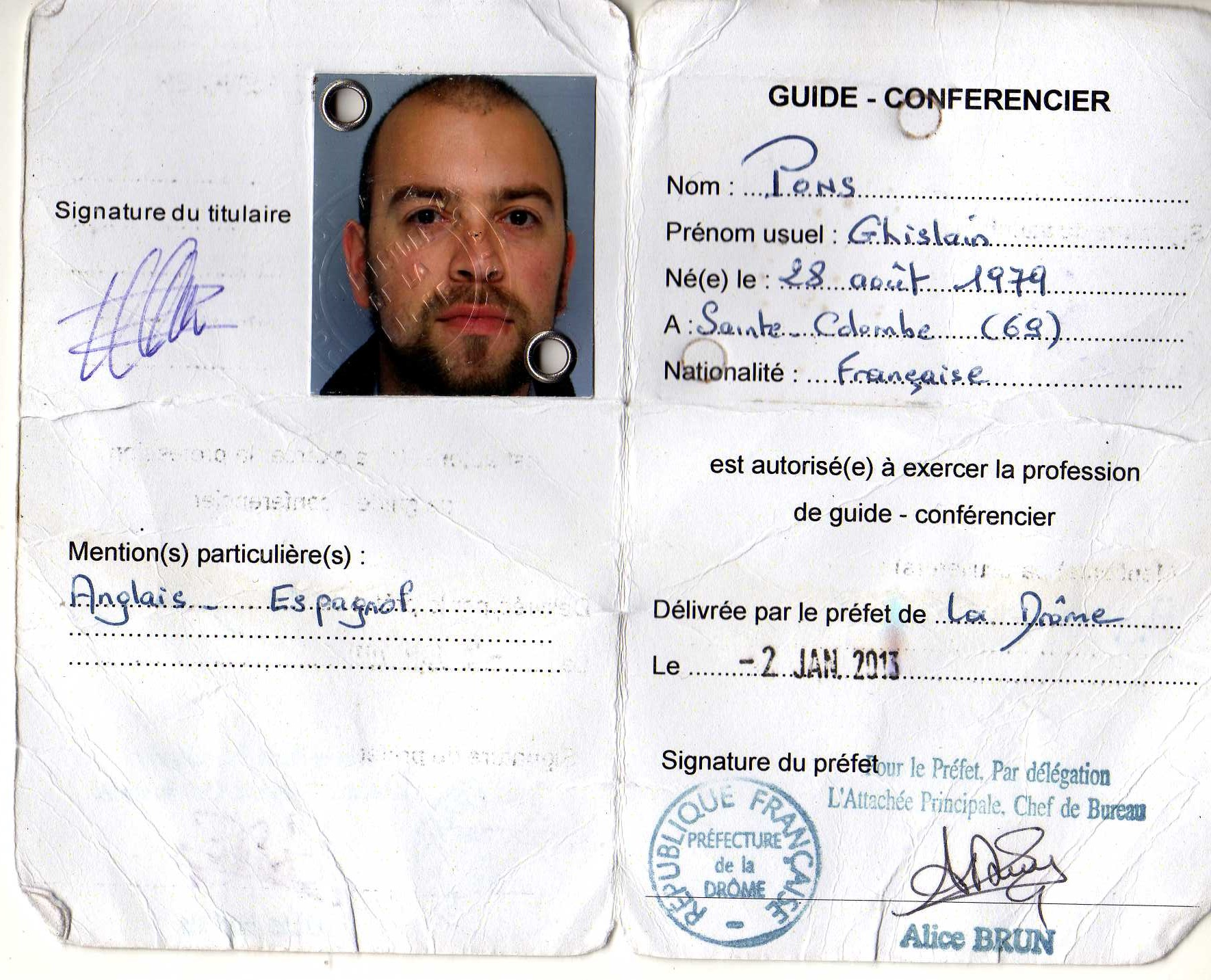 carte de guide conférencier Ghislain Boissonnier Pons   Guide Conférencier