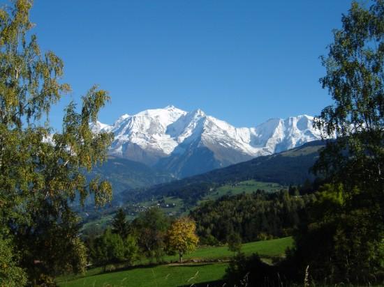 vue mont blanc à Combloux, la Perle du Mont-Blanc