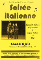 Soirée italienne : repas italien et concert du groupe