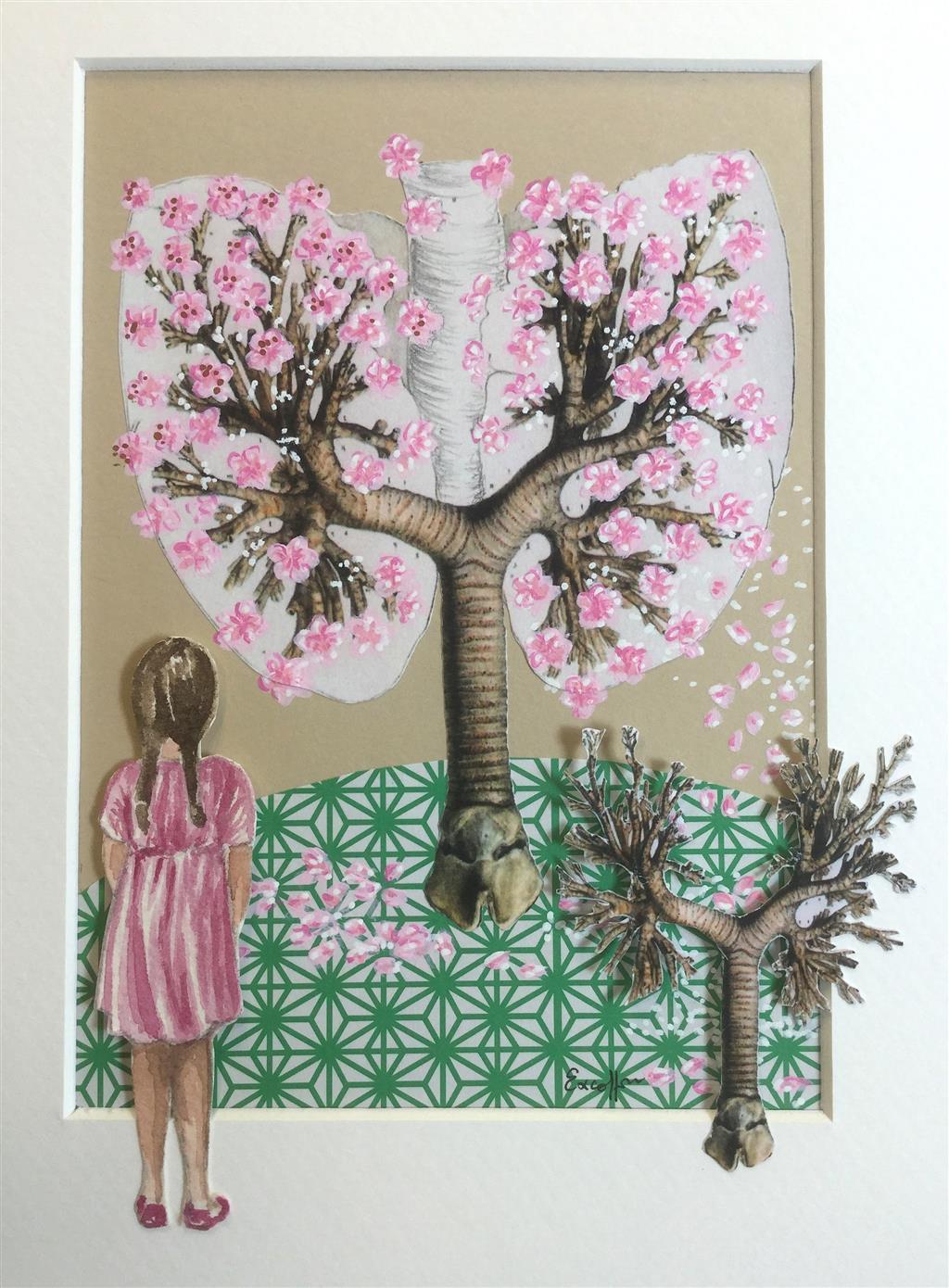 Peinture, dessin, gravure : Céline Excoffon Aquarelle, acrylique et collage Ⓒ Céline Excoffon