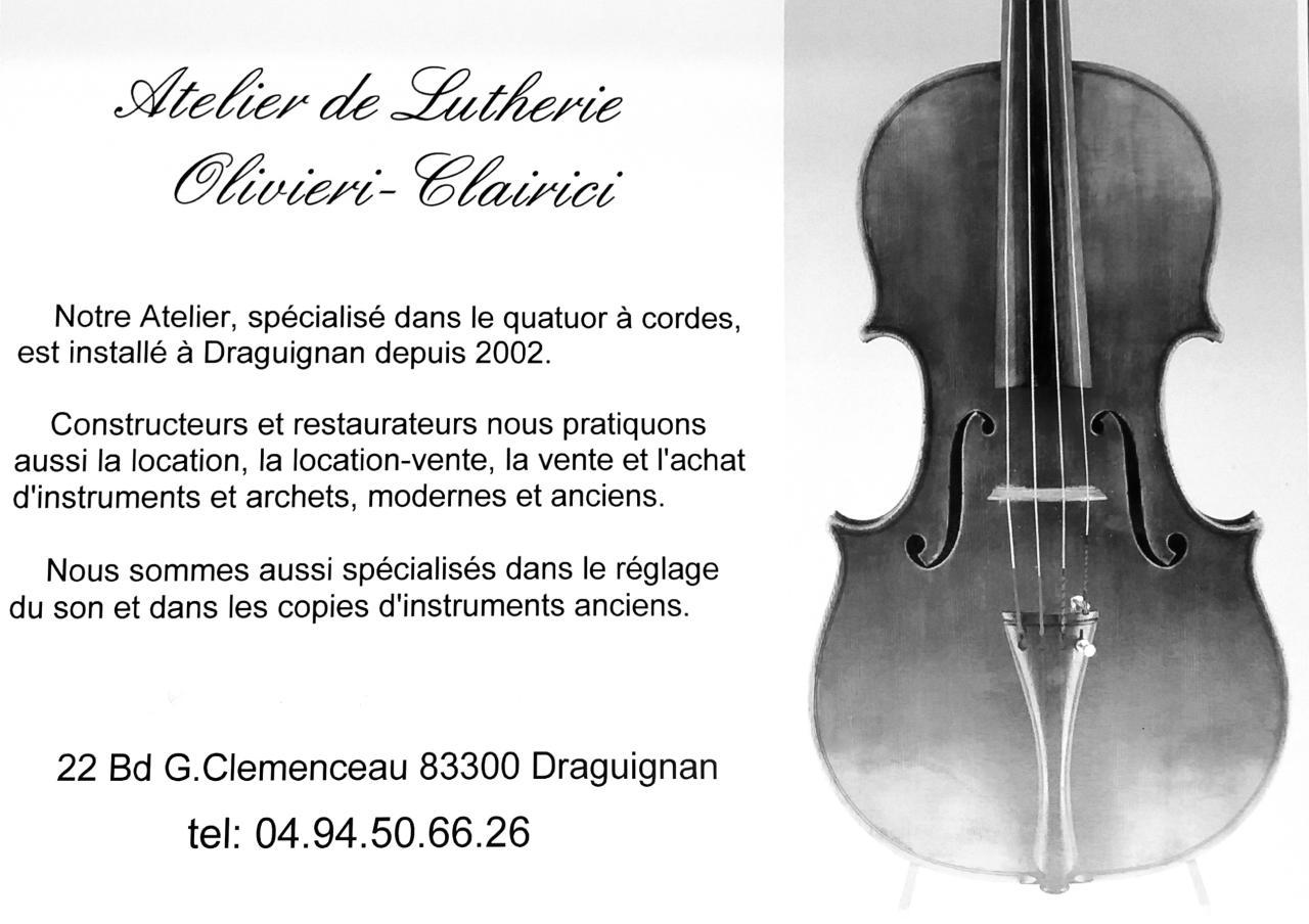 Atelier de lutherie du Quatuor à Cordes Oliveri-Clairici