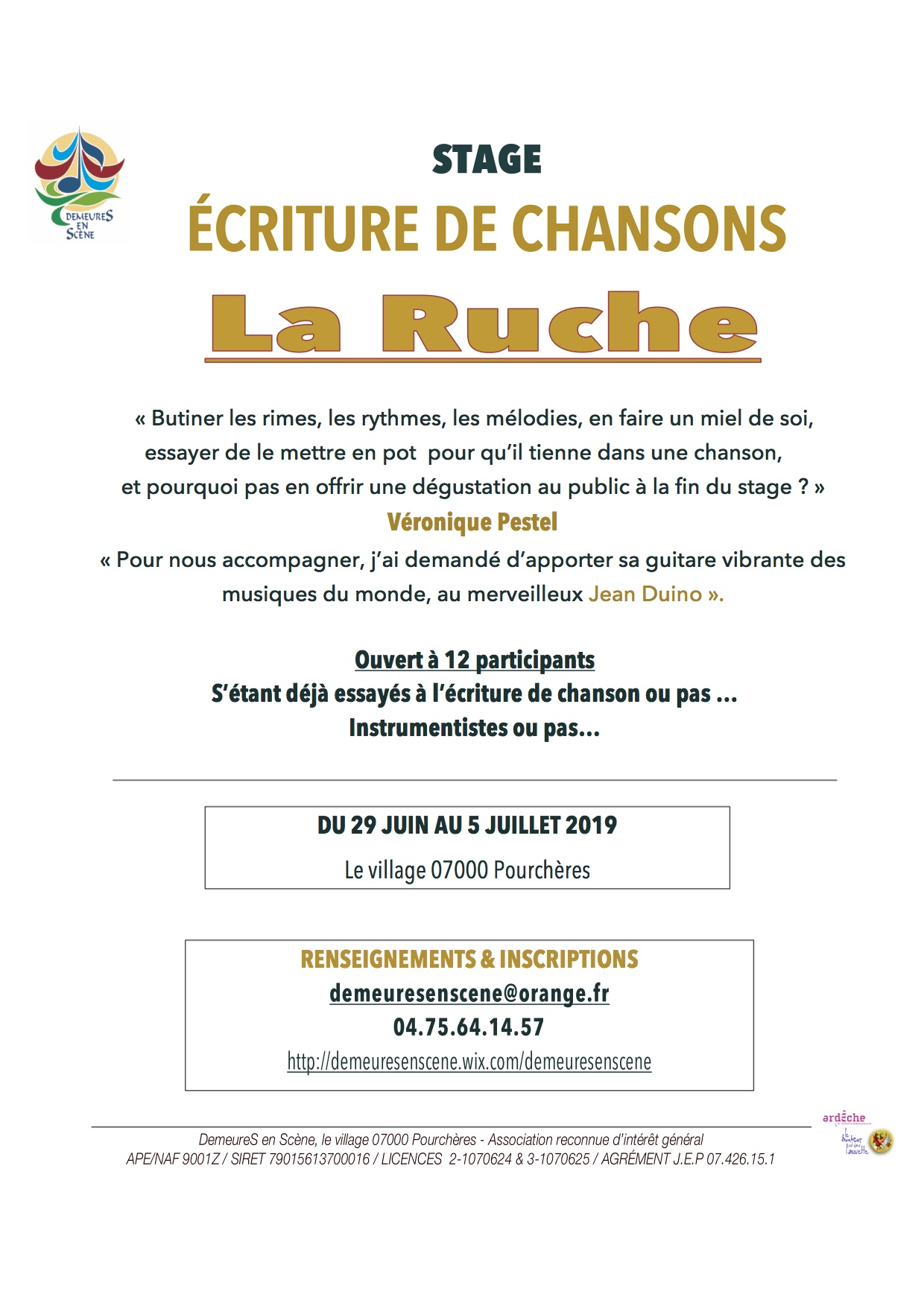 Events…Put it in your diary : Stage écriture de chansons : La Ruche