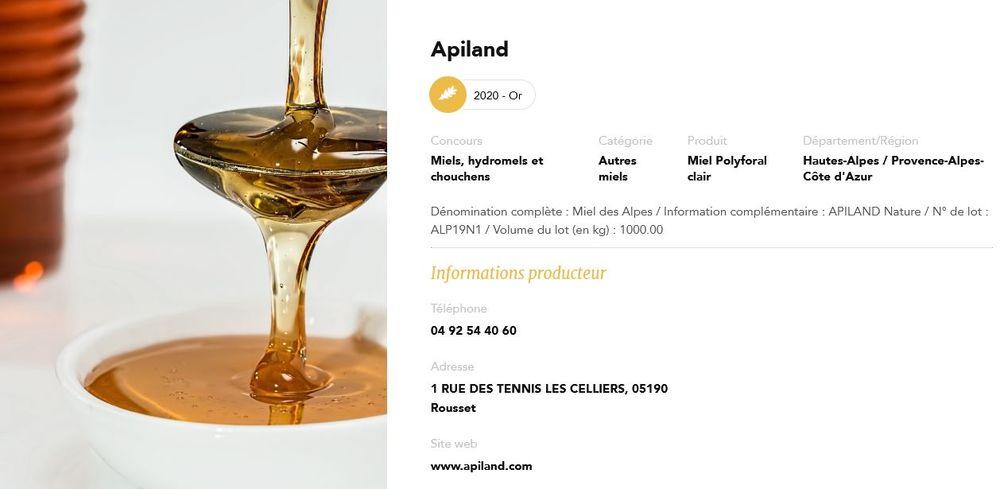 APILAND au Concours général agricole 2020 - © Apiland