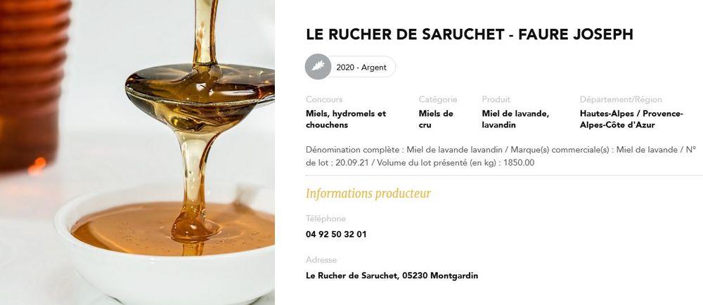 Rucher du Saruchet au Concours général agricole 2020 - © Rucher du Saruchet