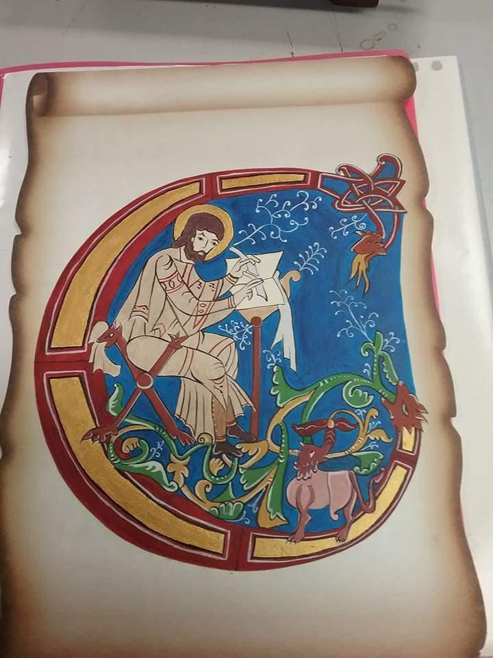 Atelier Tête de l'Art Enluminure médiévale au brou de noix par Chrystelle Ⓒ Atelier Tête de l'Art
