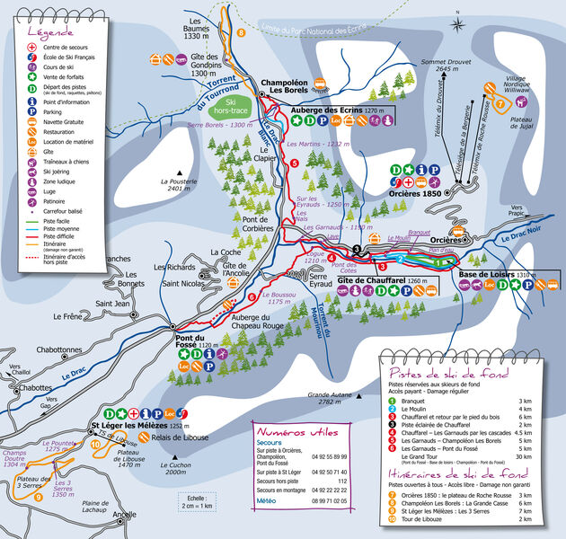 Plan du domaine nordique du Haut-Champsaur - © Empreintes Graphiques