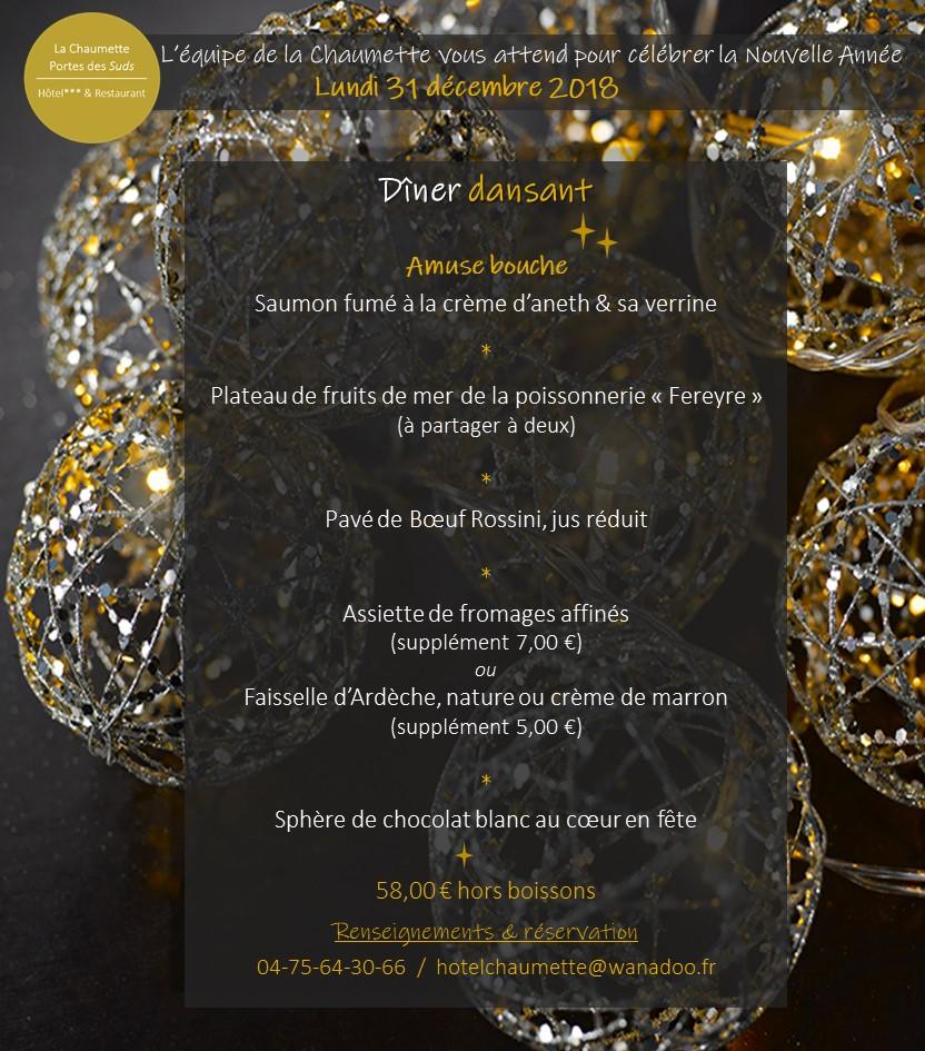 Events…Put it in your diary : Dîner dansant de la Saint-Sylvestre