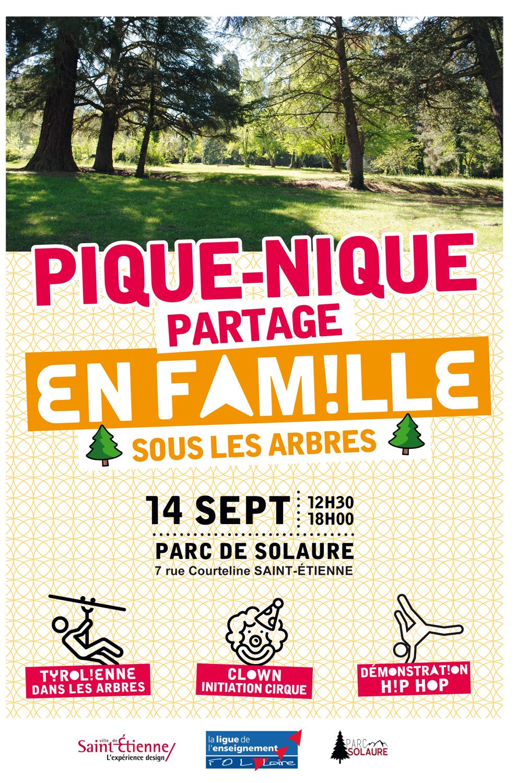Pique-nique de Solaure sous les arbres / ©Ligue de l'enseignement de la Loire