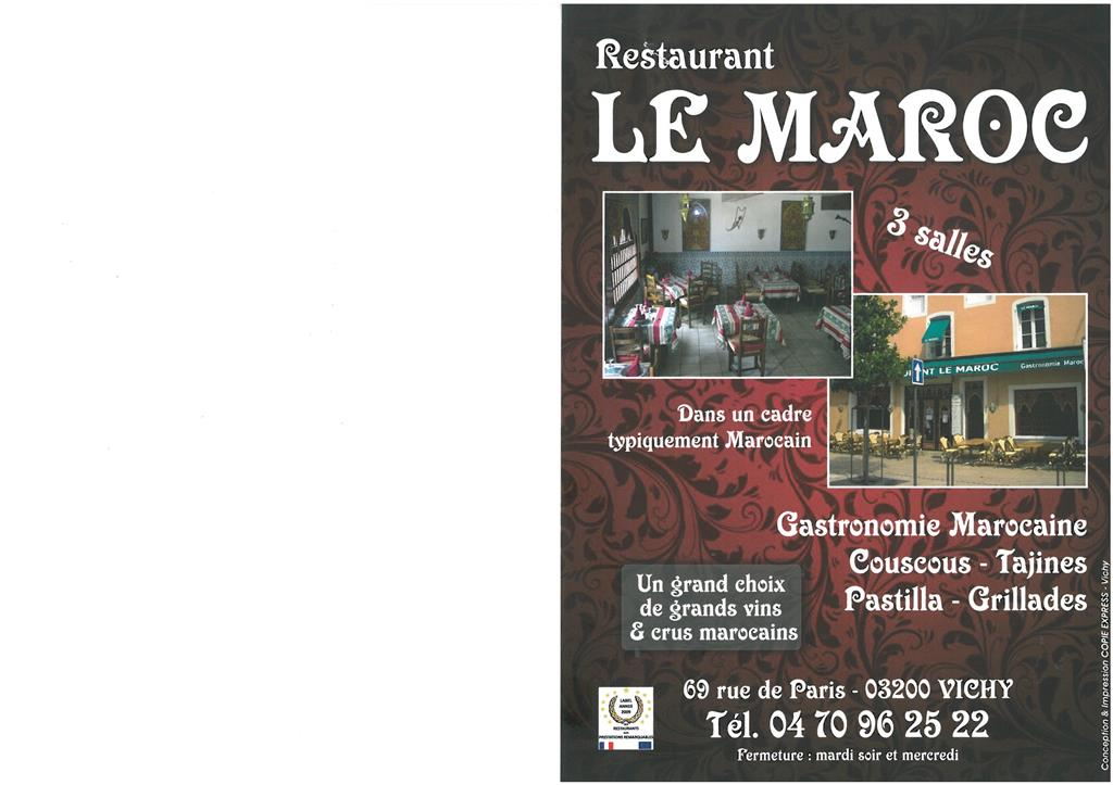 Restaurant Le Maroc Vichy Ⓒ Restaurant Le Maroc - 2016