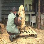 Sculpture Tronçonneuse - Jean-Nicolas Gresle Découpe à la tronçonneuse Ⓒ Site internet Com Com Pay d'Huriel - 2020