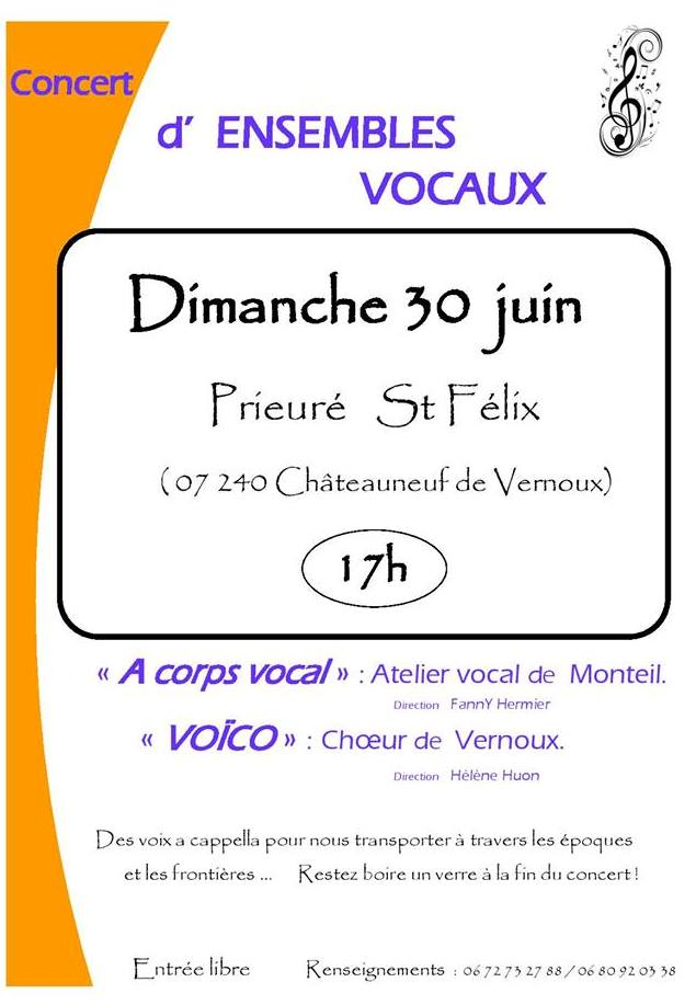Events…Put it in your diary : Concert des ensembles vocaux A corps vocal et Voïco