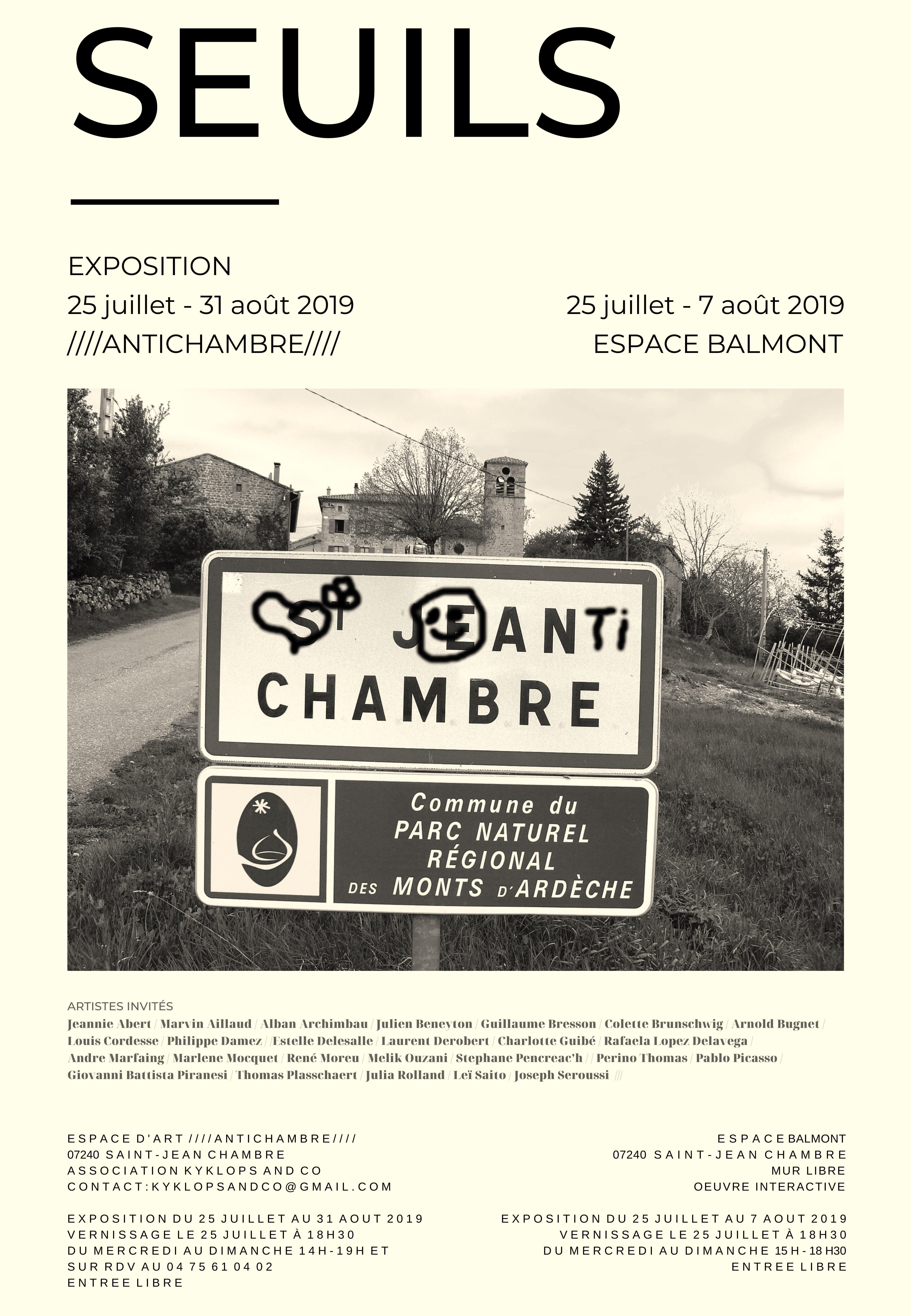 Vernissage de l'exposition Seuils (œuvres d'art contemporain)