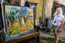 La Maison-atelier des Pierres sensibles Peinture Le jardinier avec l'artiste Ⓒ Isabelle Langella - 2018
