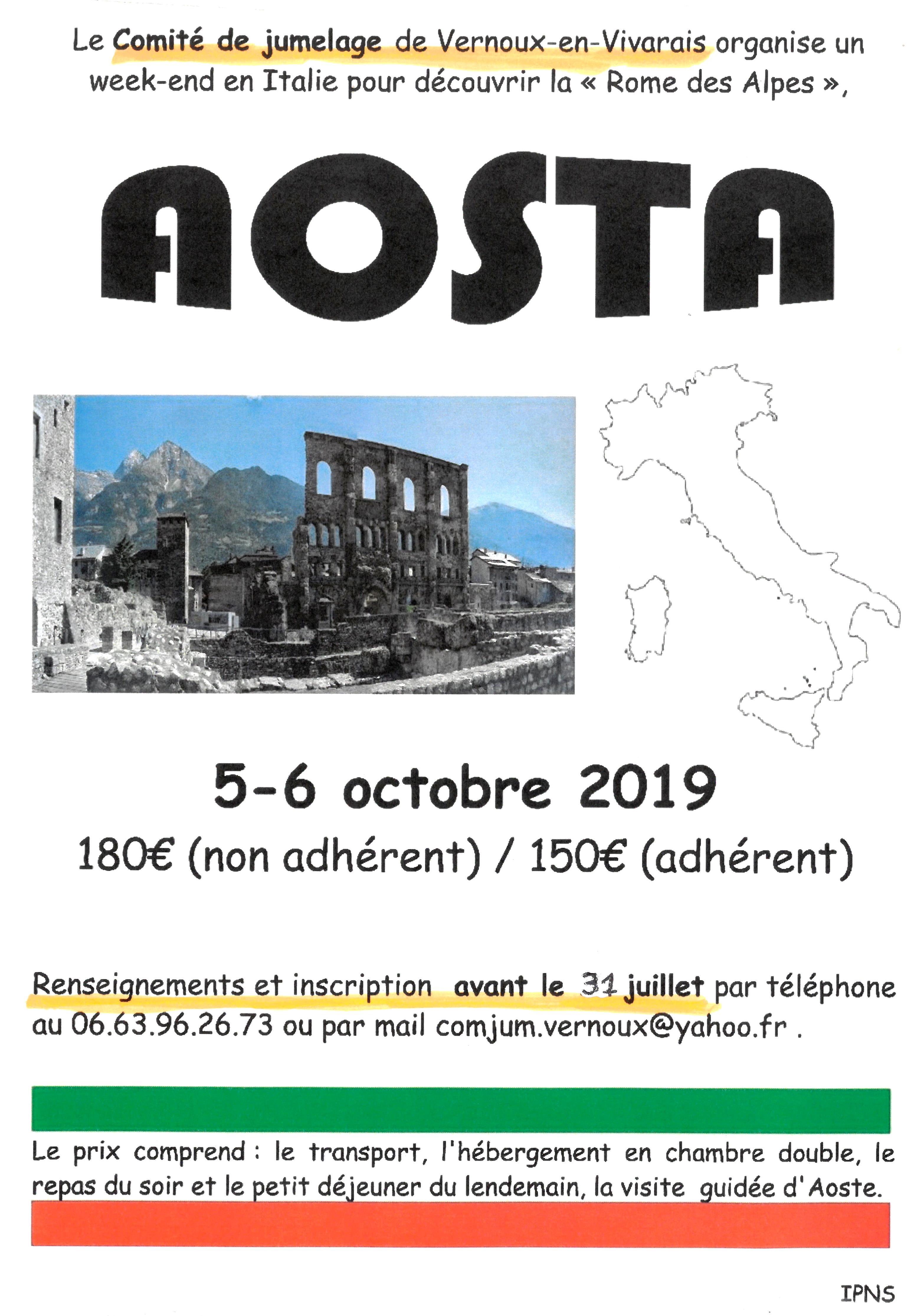 Rendez-vous futés ! : Voyage à Aoste (Italie) avec le Comité de jumelage de Vernoux-en-Vivarais