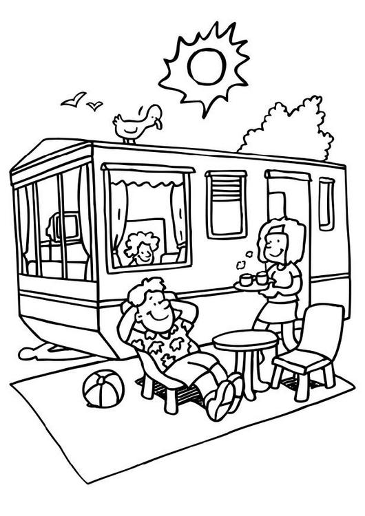 Camping Car Dessin aire de service et de stationnement camping-car