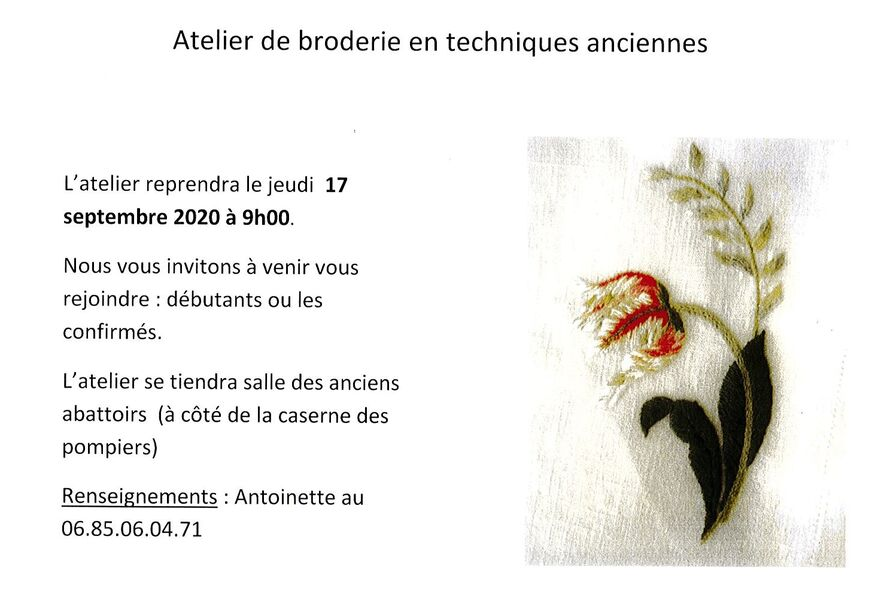 Atelier Broderie 83 - Cours 2020-21 - Antoinette Angsthelm