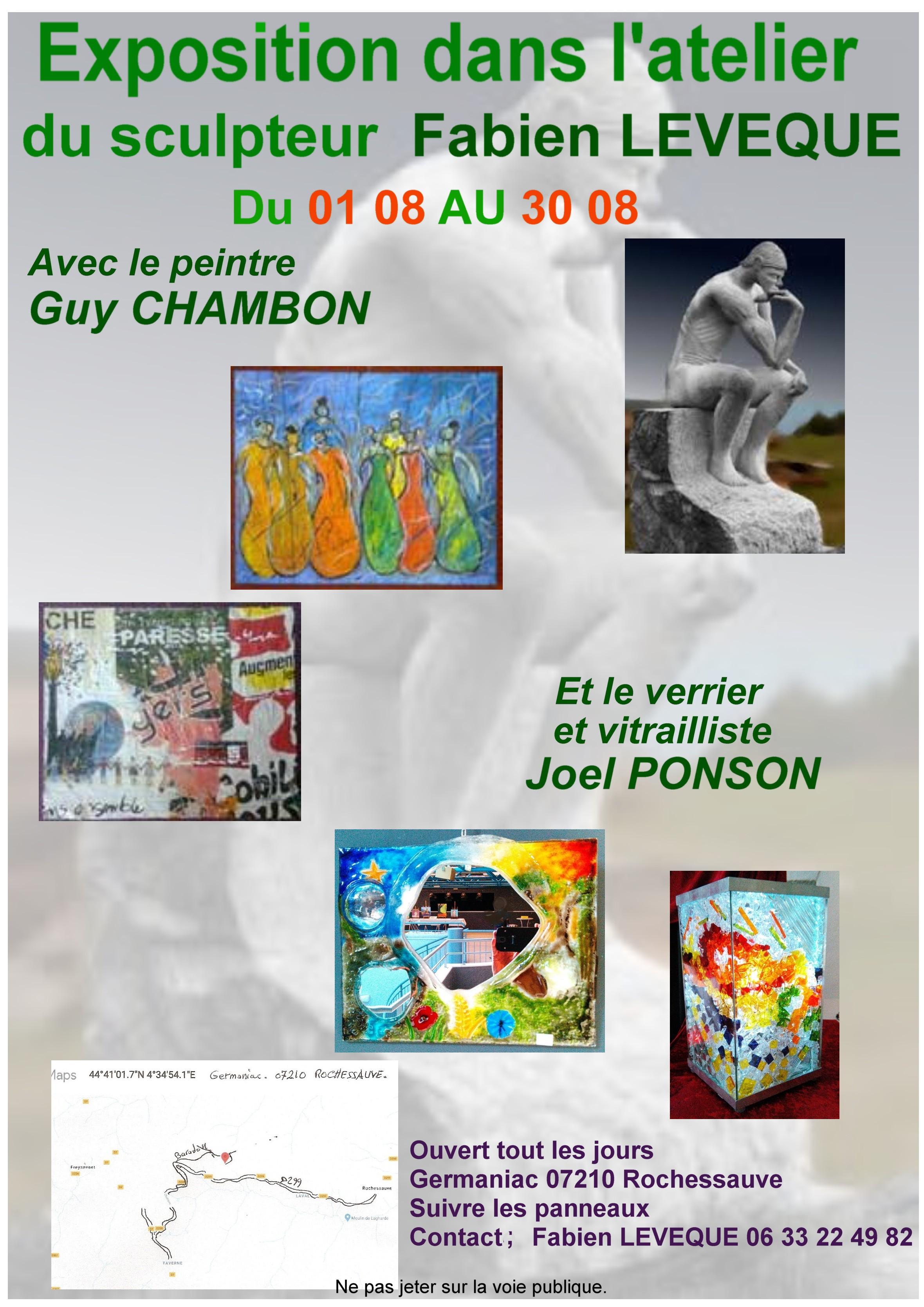 Events…Put it in your diary : Exposition dans l'atelier du sculpteur sur pierre Fabien Levêque