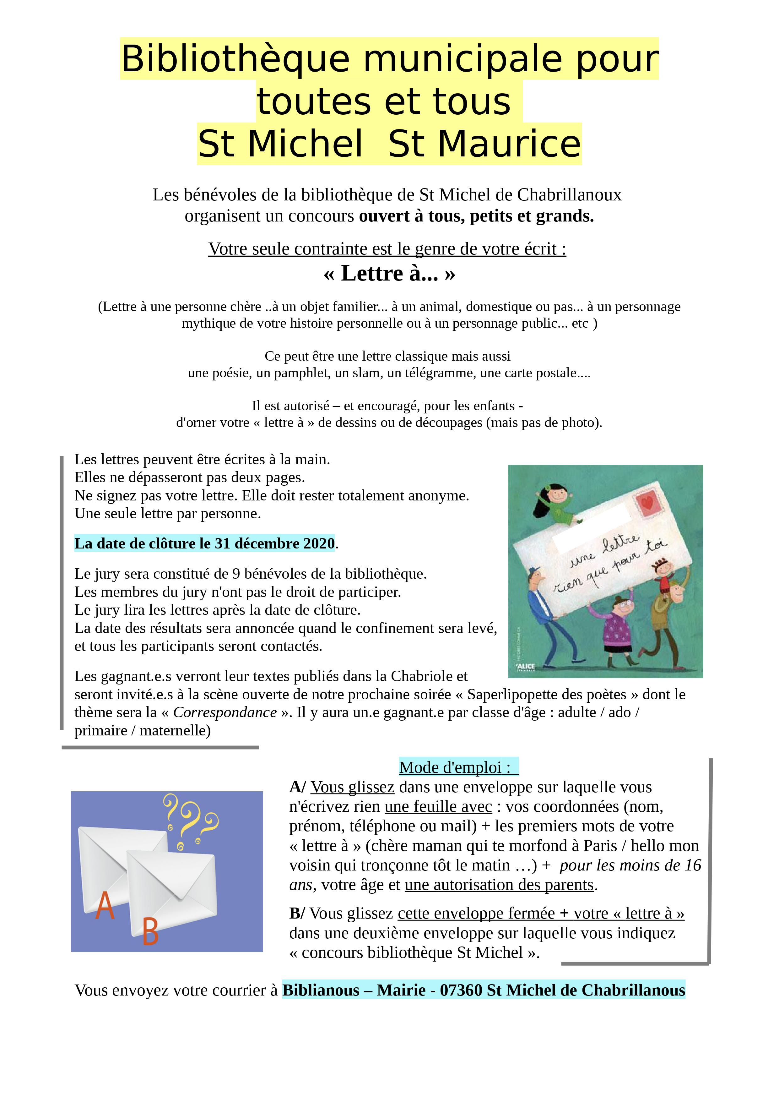 Events…Put it in your diary : Concours : Lettre à ...