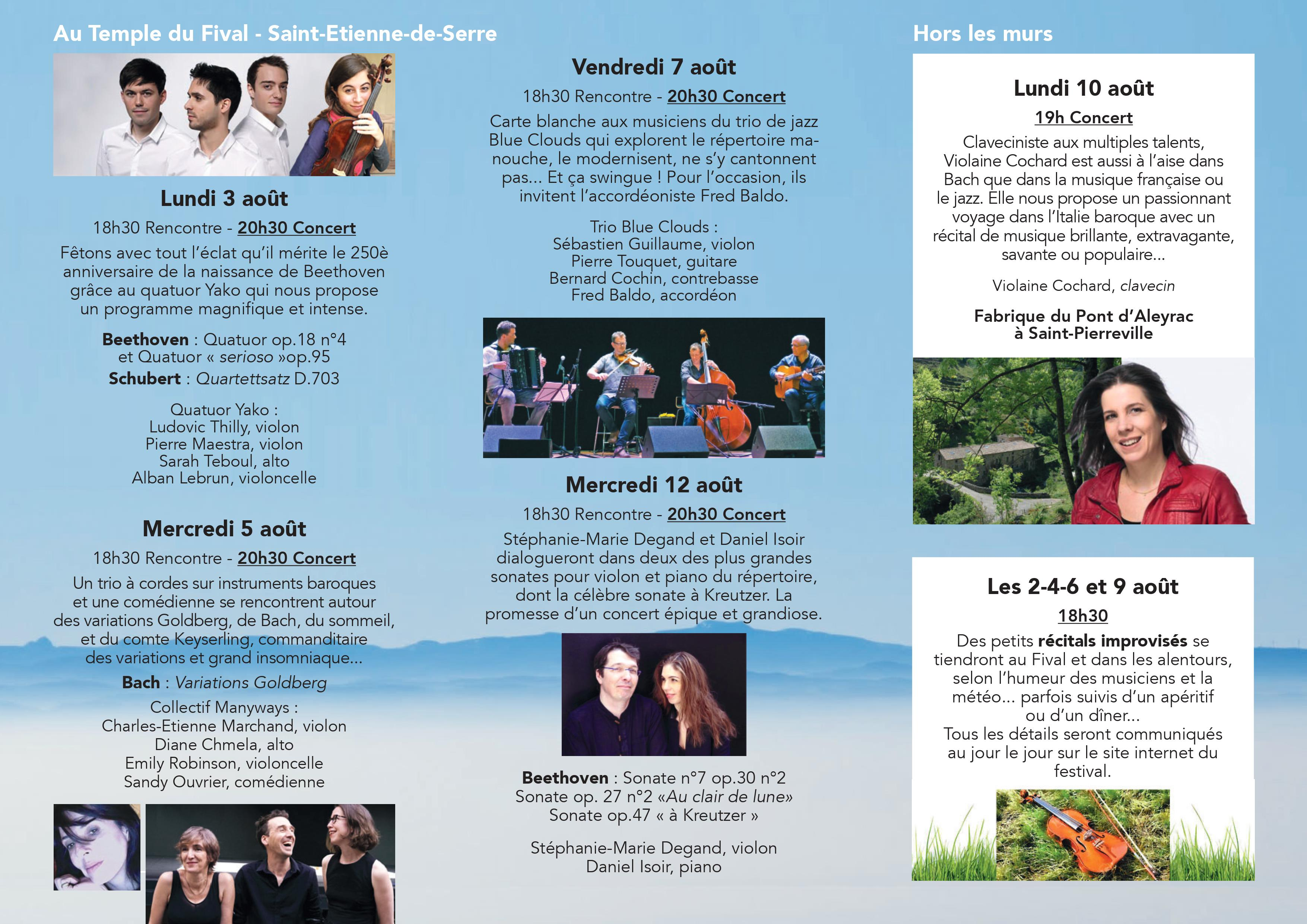 Events…Put it in your diary : Les Musicales au Fival : Concert