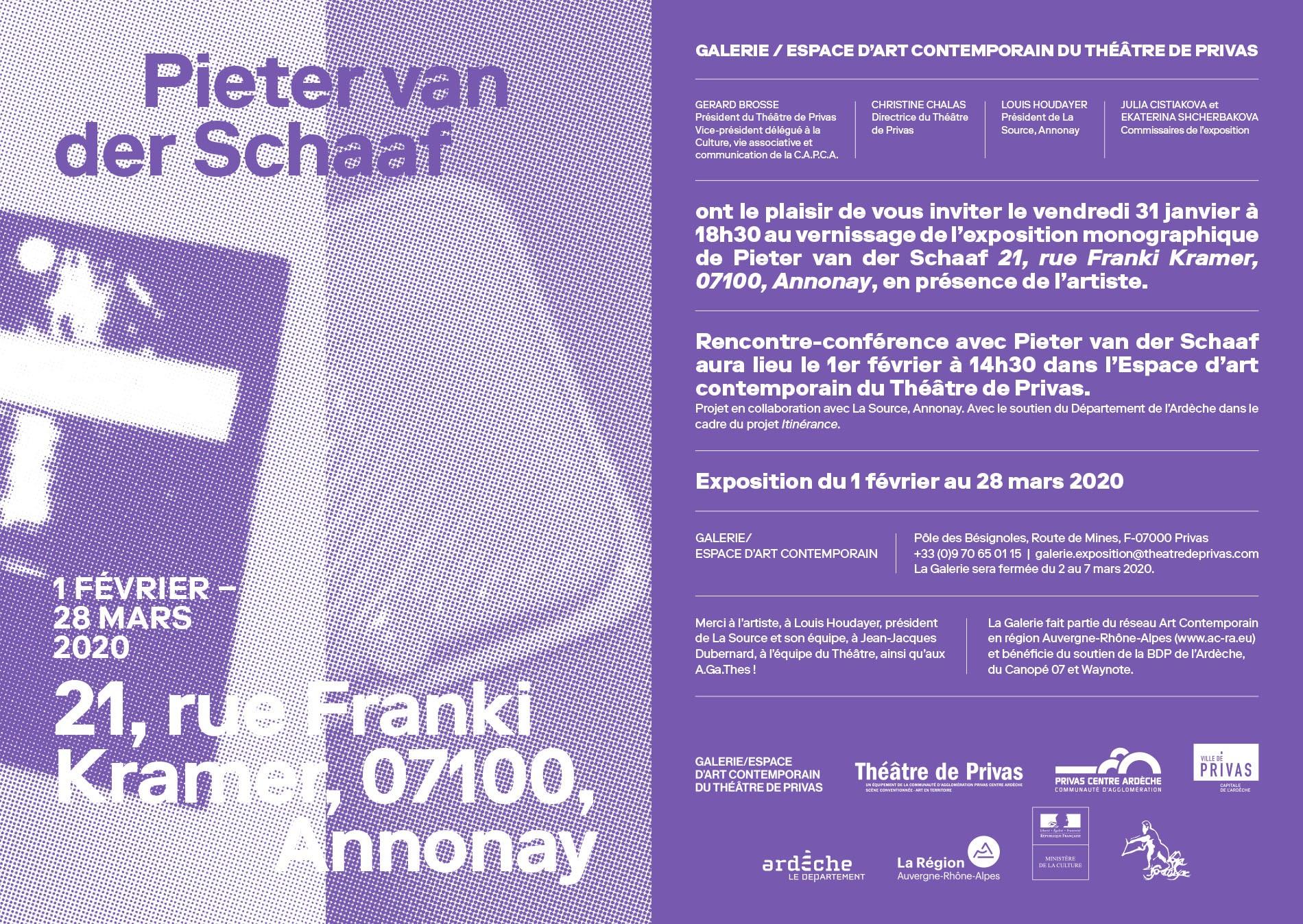 Rendez-vous futés ! : Vernissage de l'exposition de Pieter Van Der Schaaf intitulée :  21, Rue Franki Kramer 07100 Annonay