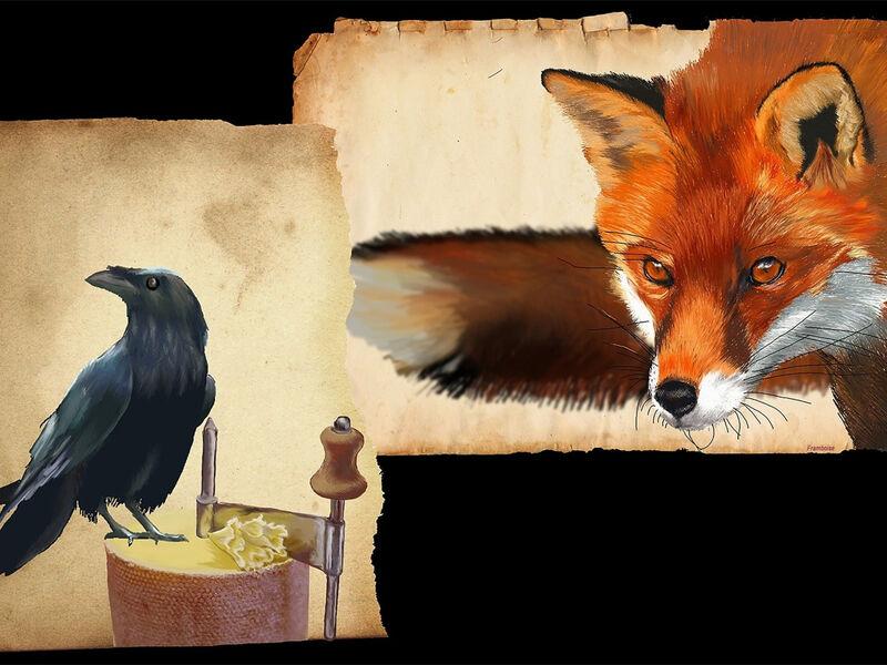 Dessins dun renard et dun corbeau