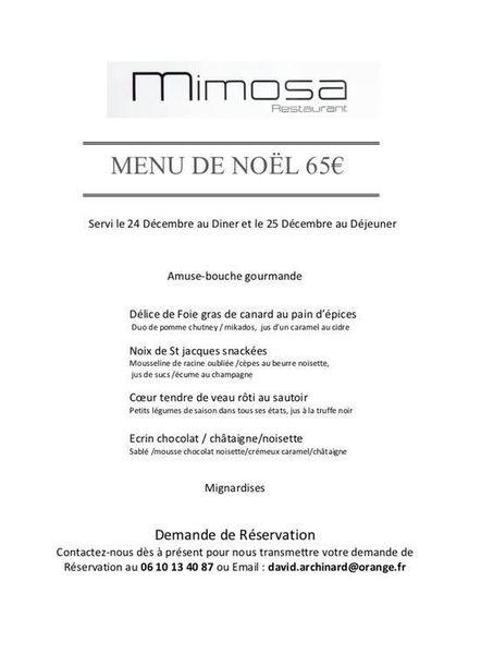 Noël au restaurant Mimosa à Bormes-les-Mimosas