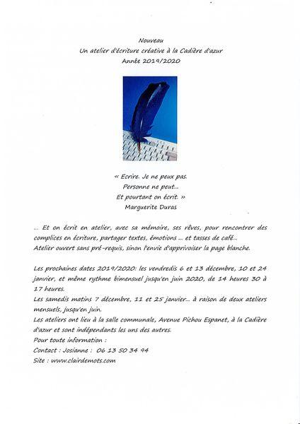 Writing workshop - Writing workshop - Josiane Maudet
