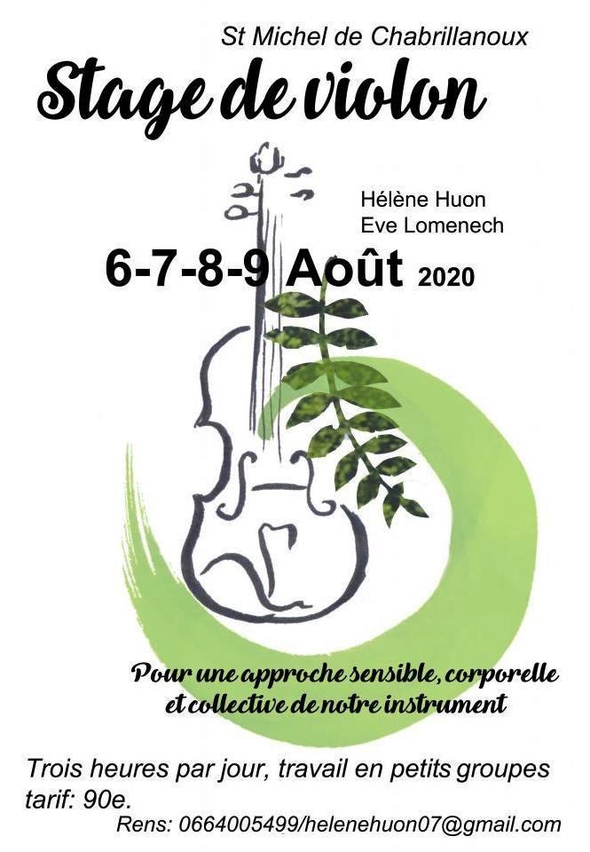 Events…Put it in your diary : Stage de violon