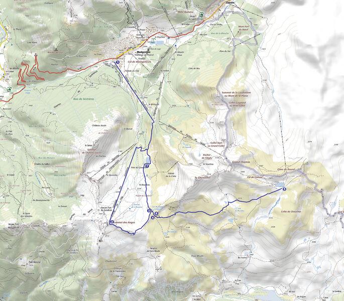 Lac Gignoux par TX des Chalmettes et TS des Gondrans - Office de Tourisme de Montgenèvre