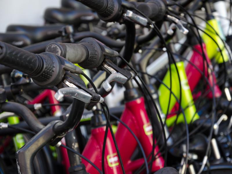 Rangée de vélos en location