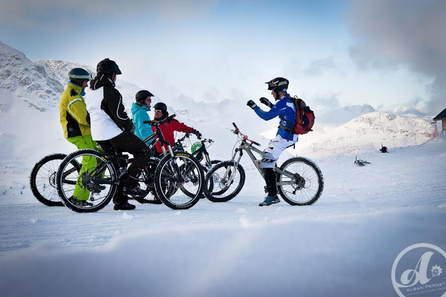 Mountain bike on snow