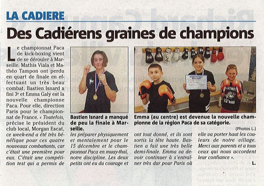 Extrême Club Cadière - Article du 30.11.19 - Var Matin
