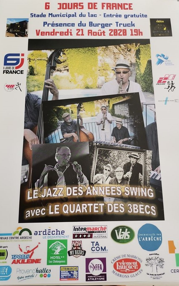 Rendez-vous futés ! : 6 jours de France : Soirée Jazz des années Swing avec le Quartet des 3 Becs