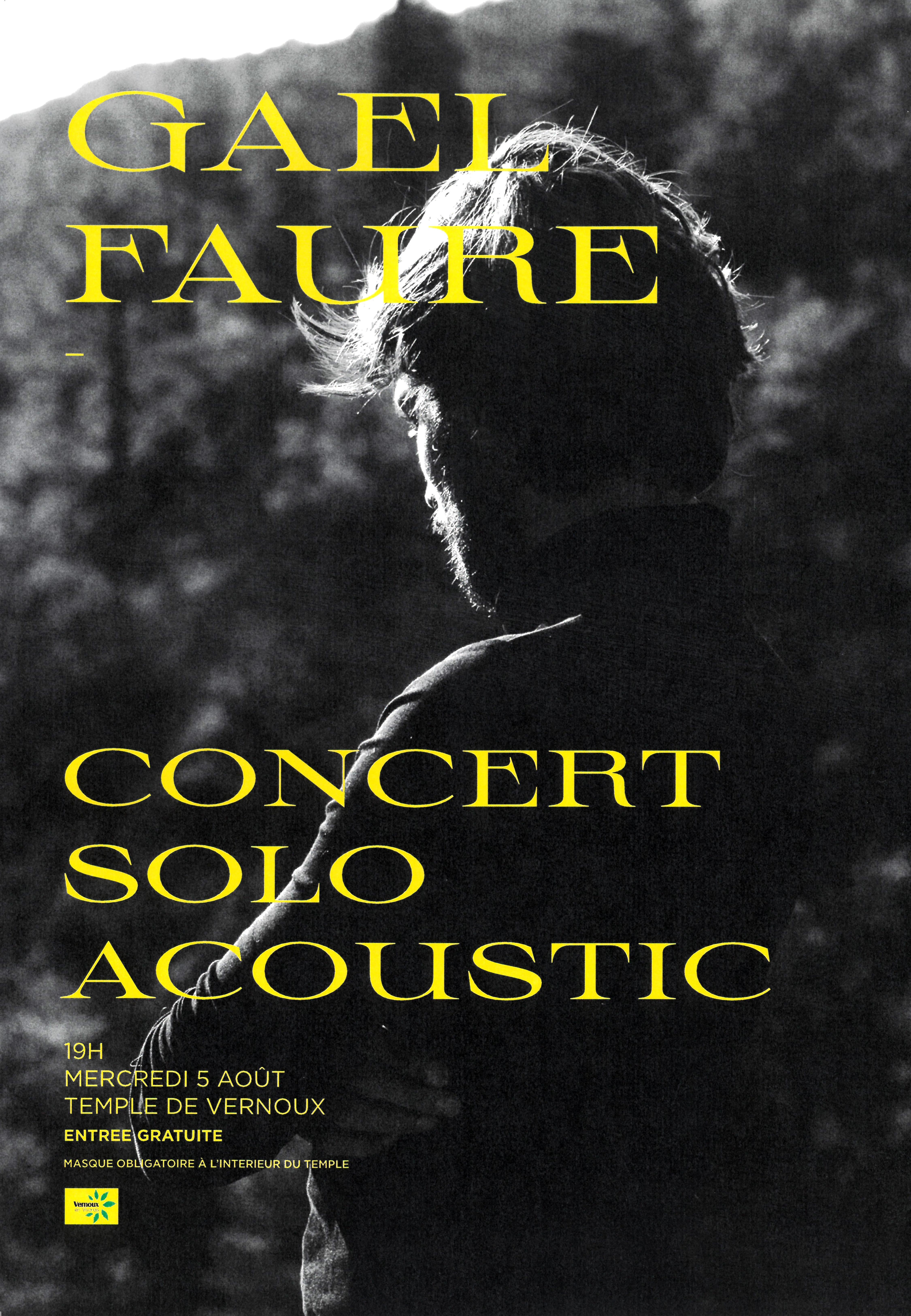 Events…Put it in your diary : Concert de Gaël Faure (solo acoustique - chanson française)