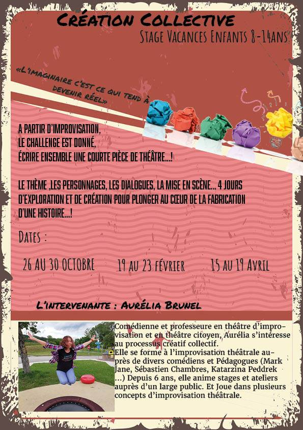 Events…Put it in your diary : Stage vacances enfants Création collective