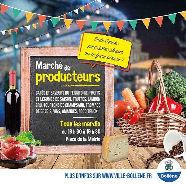 Affiche marché de producteurs à Bollène